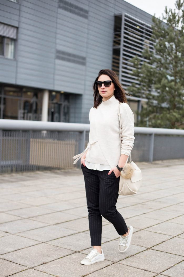 Turtleneck & Dress Pants with Sneakers Mango Bow Wrapped Sweater