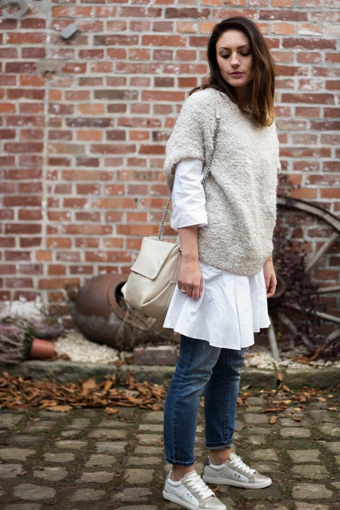 Layering Look Longbluse mit Oversize Strick Boyfriendjeans Tom Tailor