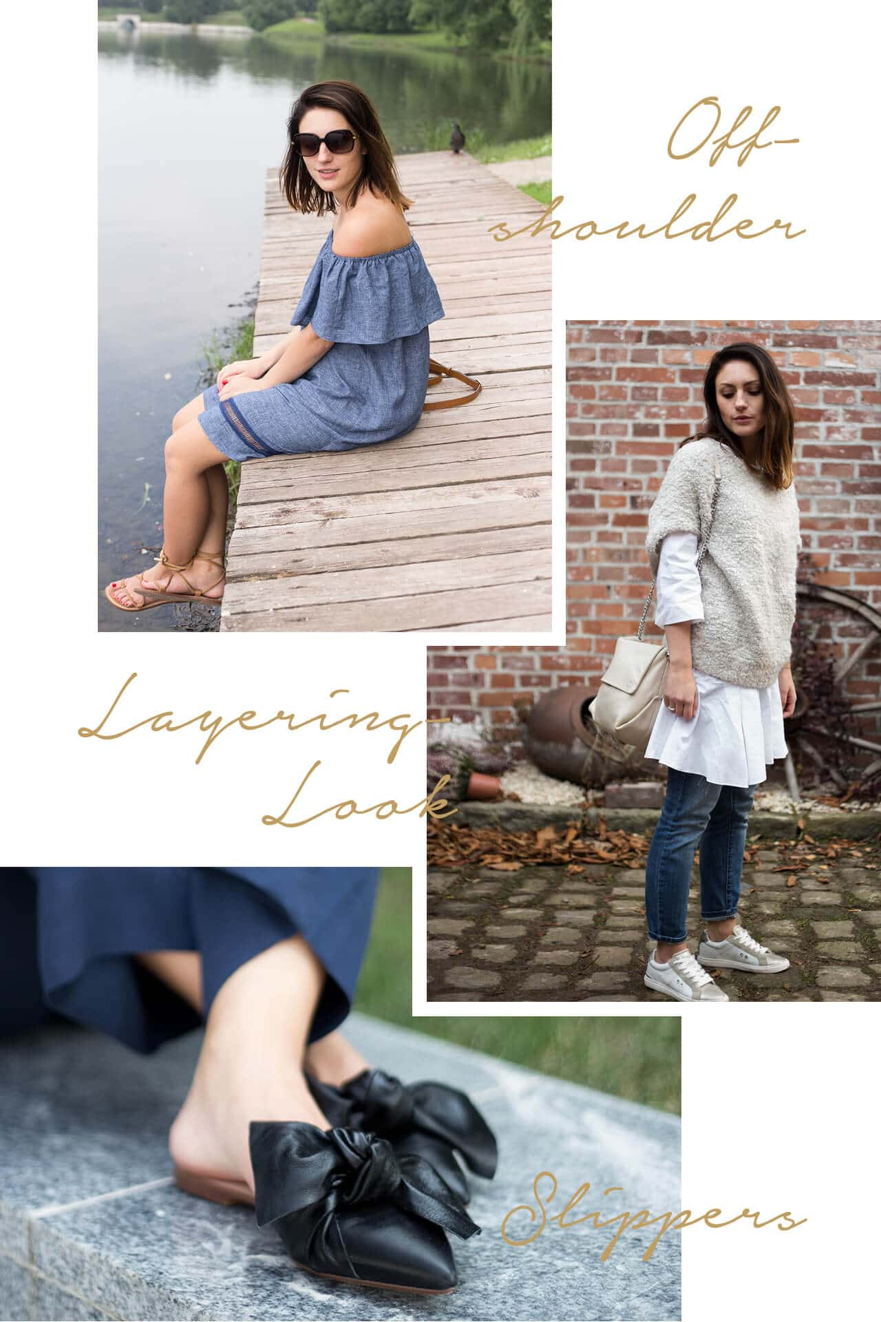 Fashion-Trend 2017 Offshoulder Layering-Look Slippers Zara
